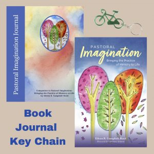 Collage image of the covers of Pastoral Imagination book and journal with the bonus gift of a bicycle keychain