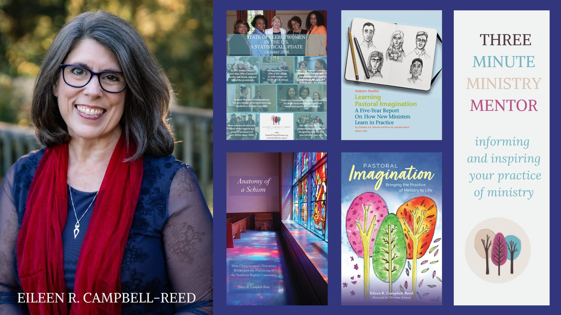 Montage image about Eileen Campbell-Reed. She is a professor at Union Theological Seminary, Central Seminary, host of Three Minute Ministry Mentor, and author of Anatomy of a Schism, State of Clergy women report, and pastoral Imagination